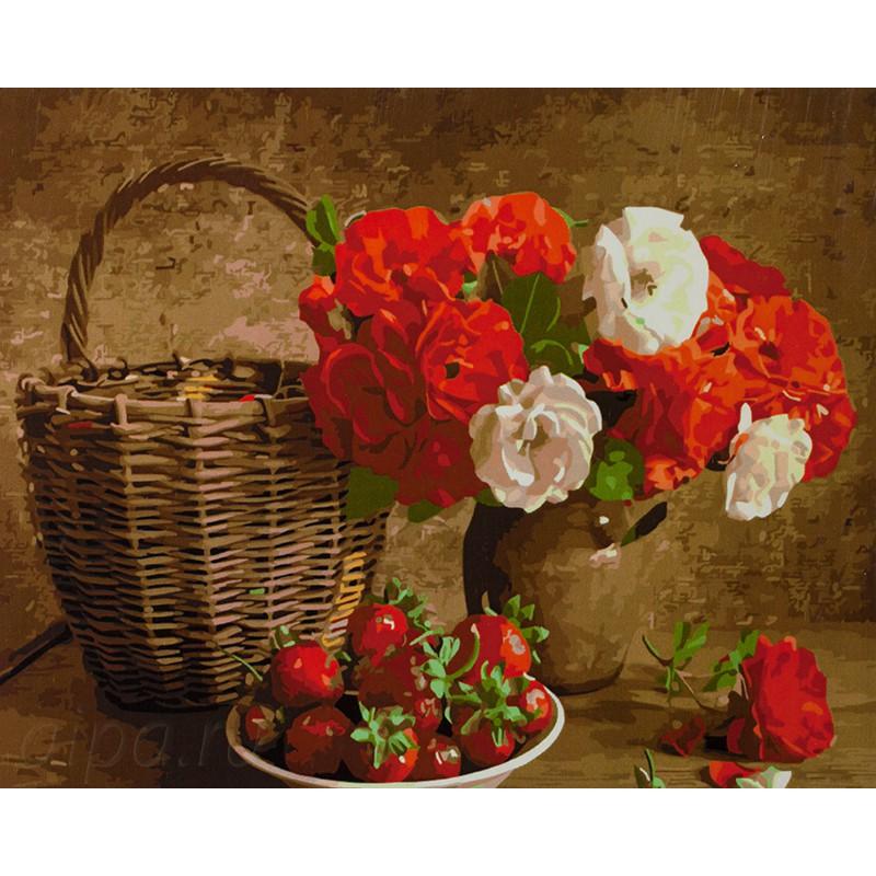 Раскраска по номерам Букет цветов и клубника картина 40х50 ...