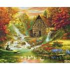 Водяная мельница в Швейцарии Раскраска картина по номерам акриловыми красками на холсте