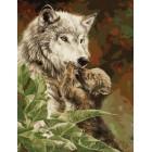 Волчица с малышом Раскраска картина по номерам акриловыми красками на холсте