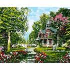 Усадьба летом Раскраска картина по номерам акриловыми красками на холсте