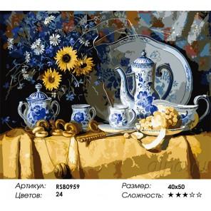 Количество цветов и сложность Бело-синий фарфор Раскраска картина по номерам акриловыми красками на холсте