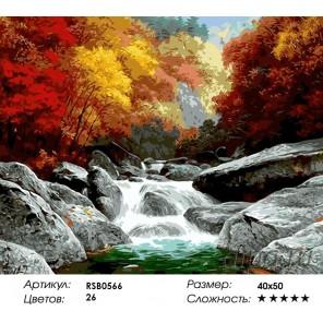 Осенняя горная река Раскраска картина по номерам на холсте