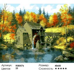 Водяная мельница Раскраска картина по номерам на холсте