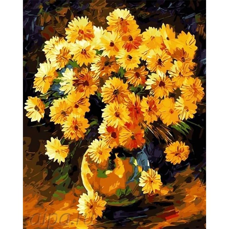 Картина по номерам акриловыми красками Солнечные цветы в ...