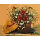 Корзина с маками Раскраска картина по номерам акриловыми красками на холсте