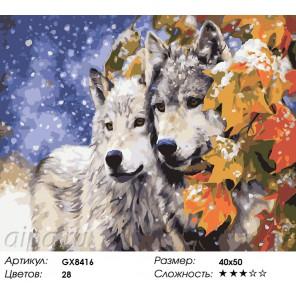 Количество цветов и сложность Волки под кленом Раскраска картина по номерам акриловыми красками на холсте