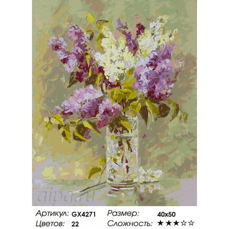 Количество цветов и сложность Майская сирень Раскраска картина по номерам акриловыми красками на холсте