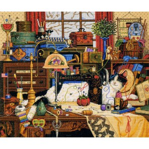 Кот в швейной комнате Набор для вышивания Счетный крест Dimensions
