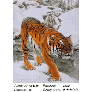 Количество цветов и сложность Тигр зимой Раскраска картина по номерам акриловыми красками на холсте
