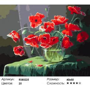Количество цветов и сложность Маки на зеленом Раскраска картина по номерам акриловыми красками на холсте