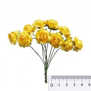 Букетик роз желтый Цветы бумажные для скрапбукинга, кардмейкинга Scrapberrys
