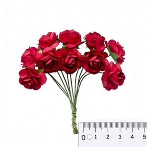 Букетик роз красный  Цветы бумажные для скрапбукинга, кардмейкинга Scrapberrys