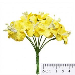 Букетик цветов гибискуса желтый Цветы бумажные для скрапбукинга, кардмейкинга Scrapberrys