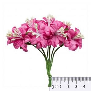 Букетик цветов гибискуса Фукcия Цветы бумажные для скрапбукинга, кардмейкинга Scrapberrys