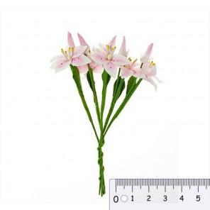 Лилии с бутоном розово-белые Цветы бумажные для скрапбукинга, кардмейкинга Scrapberrys