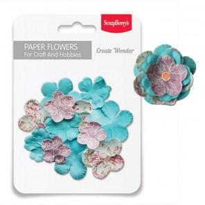 Весна Набор бумажных цветов для скрапбукинга, кардмейкинга Scrapberrys