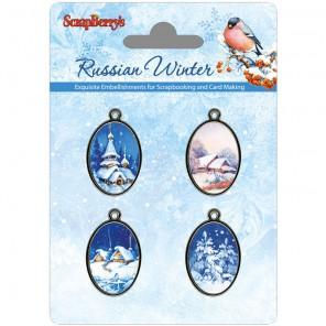 Рождественская ночь Русская зима Набор металлических подвесок с эпоксидными изображениями ScrapBerrys