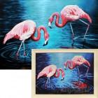 Фламинго на озере Алмазная вышивка мозаика Гранни