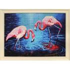 готовая работа Фламинго на озере Алмазная вышивка мозаика Гранни