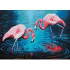 Макет Фламинго на озере Алмазная вышивка мозаика Гранни