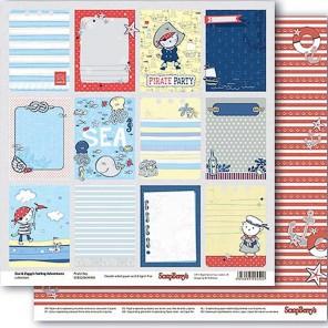 Карточки 2 Морские приключения Бумага двусторонняя для скрапбукинга, кардмейкинга ScrapBerrys