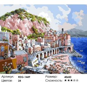 Итальянское побережье Раскраска картина по номерам на холсте