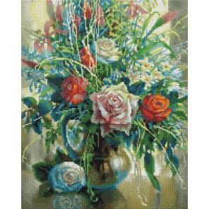 Натюрморт с белой розой Алмазная вышивка мозаика на подрамнике Белоснежка