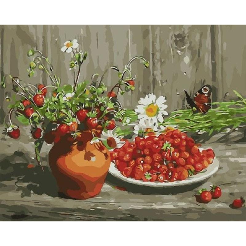 Раскраска по номерам Аромат земляники картина 40х50 см на ...