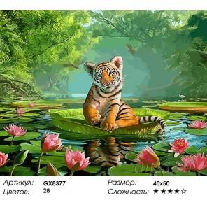Тигренок с цветущими лотосами Раскраска картина по номерам акриловыми красками на холсте