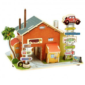Американская авто гостиница 3D Пазлы Деревянные Robotime