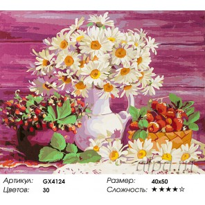Количество цветов и сложность Лето с ромашками Раскраска картина по номерам акриловыми красками на холсте