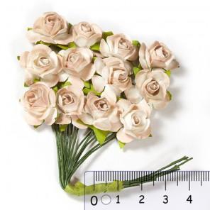 Розы чайные бежевые  HY00100185010-11 Цветы бумажные Украшение для скрапбукинга, кардмейкинга Scrapberrys