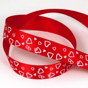Сердца на красном Лента атласная с рисунком