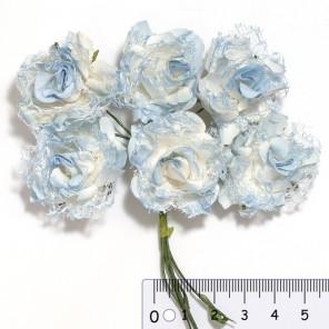 Голубые ажурные розы Цветы бумажные для скрапбукинга, кардмейкинга  Stamperia