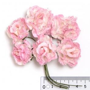 Розовые ажурные розы Цветы бумажные для скрапбукинга, кардмейкинга  Stamperia