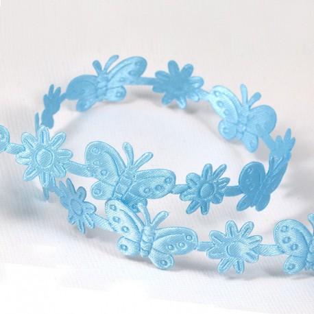 Голубые  бабочки и цветы Лента декоративная для скрапбукинга, кардмейкинга