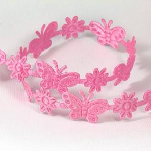 Розовые бабочки и цветы Лента декоративная для скрапбукинга, кардмейкинга