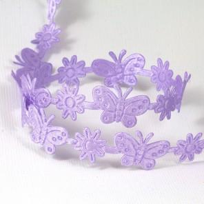 Сиреневые бабочки и цветы Лента декоративная для скрапбукинга, кардмейкинга