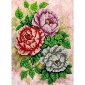 Чайные розы Набор для частичной вышивки бисером Паутинка