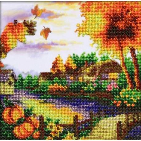 Осенний пейзаж Набор для частичной вышивки бисером Паутинка