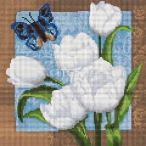 Бабочка у тюльпанов Алмазная мозаика на твердой основе Iteso