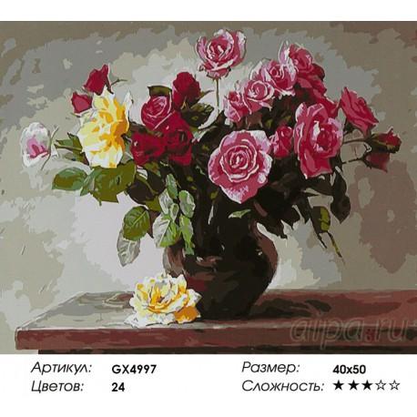 Количество цветов и сложность Разноцветные розы Раскраска картина по номерам акриловыми красками на холсте