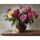 Разноцветные розы Раскраска картина по номерам акриловыми красками на холсте