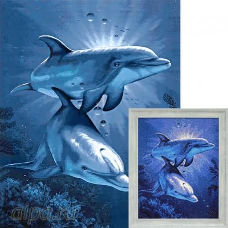Свидание дельфинов Алмазная вышивка мозаика Гранни AG115 ...