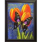 Готовая работа Бабочка на тюльпанах Алмазная вышивка мозаика Гранни