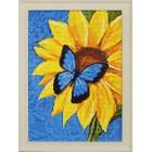 Готовая работа Бабочка и подсолнух Алмазная вышивка мозаика Гранни