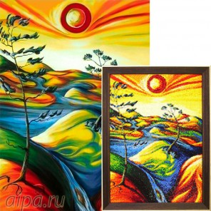 Яркий пейзаж Алмазная вышивка мозаика Гранни