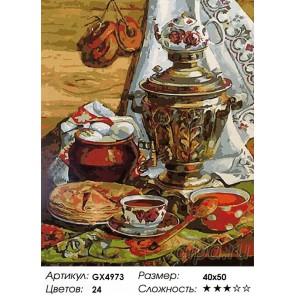 Количество цветов и сложность Чаепитие с самоваром Раскраска картина по номерам акриловыми красками на холсте