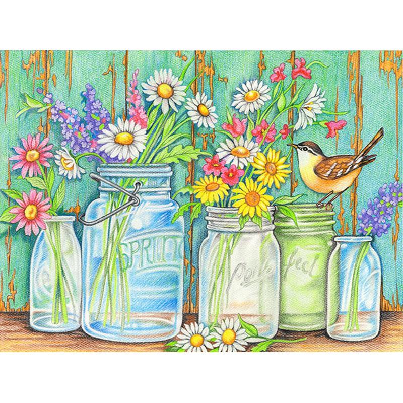 Садовые цветы Набор раскрасок по номерам цветными ...