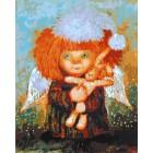 Ангел с кроликом Раскраска картина по номерам акриловыми красками на холсте